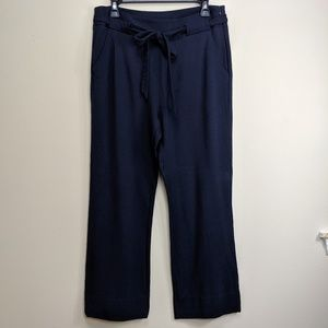 Cabi Easy Crop Pants 5177 Blue Tie Belt Sz 8